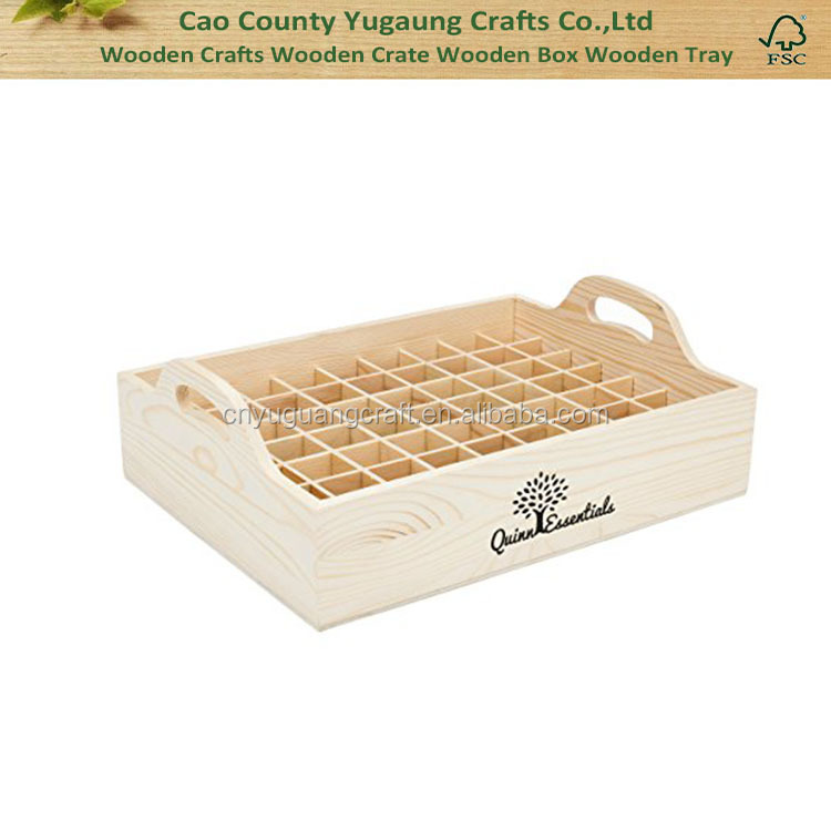 Essential Oil Wooden Tray Organizer - Large Wood Storage Case Holds 63 Bottles of 5ml, 10ml and 15ml Essential Oils