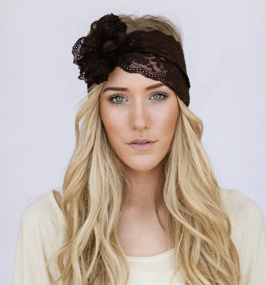 Godbead Wide Lace <strong>Headband</strong> with Flower for Women Brown Lacy <strong>Headband</strong> Coffee Brown Stretchy Bridesmaids Hair Wrap With Lace Flowe