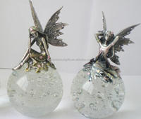 elegant pewter fairy figurines with glass ball paperweight