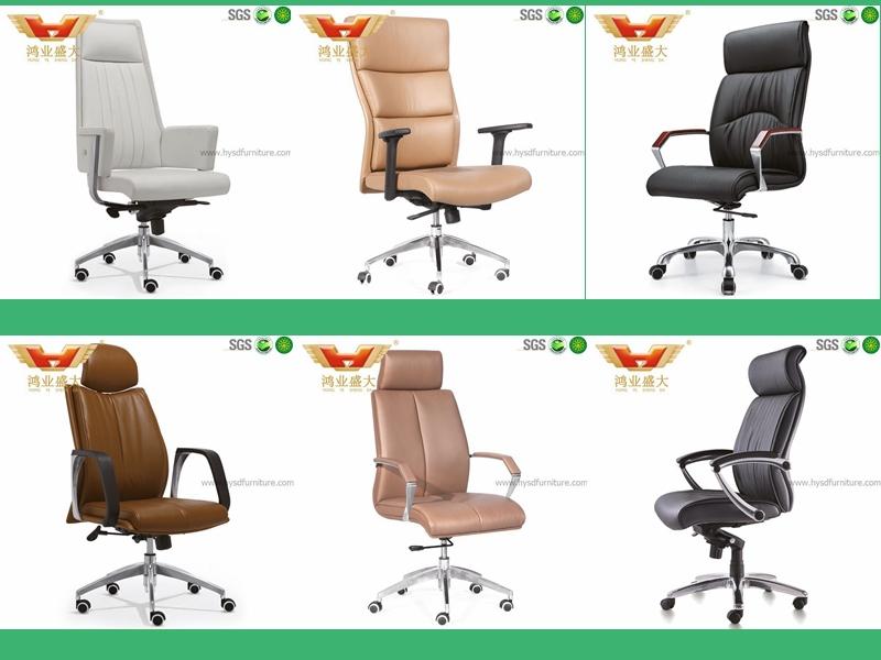 Роскошные черные офисные кресла руководителя из натуральной кожи с подлокотником из тикового дерева (HY-A010)