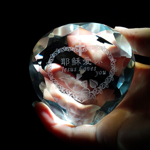 Heart shape clear faceted diamond Christmas crystal glass paperweight decoration for wedding souvenir
