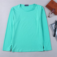 cvc cotton blank ladies new design long sleeve t shirt
