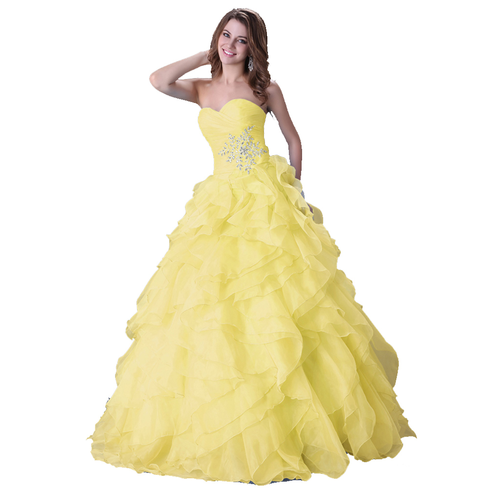 Get Quotations · 2015 Chic GraceKarin Floor Length Red Blue Yellow Organza  Ruffle Long Wedding Dress Bridal Gown Women