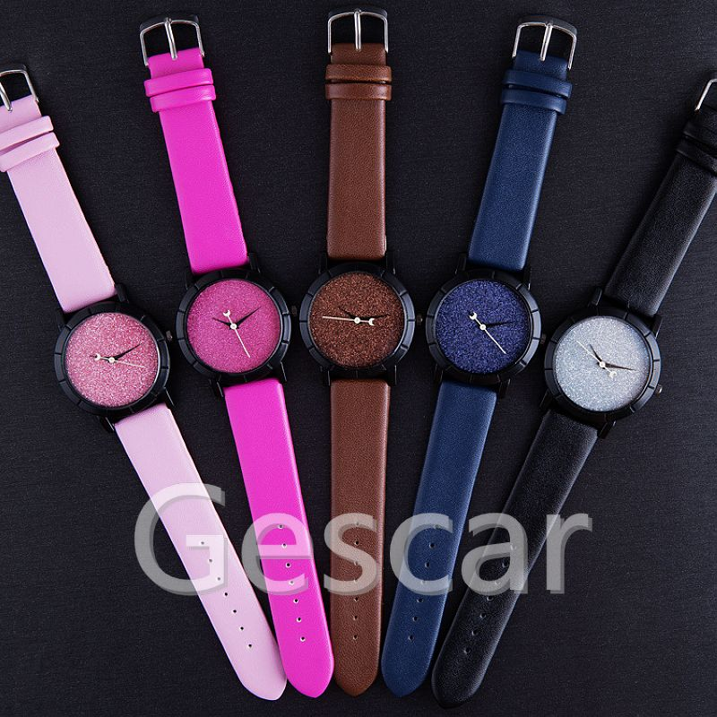 Wholesale Moon Analog Display Shimmering Powder Leather Watch