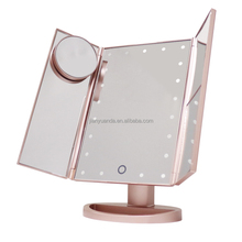 LED Lighted Touch Screen Vanity Make Up Mirror Tabletop Cosmetic Mirror with Free Removeable 10x Magnify Mirror