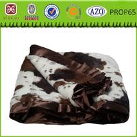 Cheap falbala cow printed coral fleece baby blanket