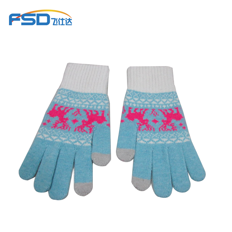 Custom design winter fashion warm tablet PC touch screen knitted gloves