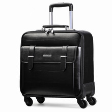 PU <span class=keywords><strong>bagaglio</strong></span> In Pelle Trolley per il Computer Portatile Carry-on Sacchetto Del Computer