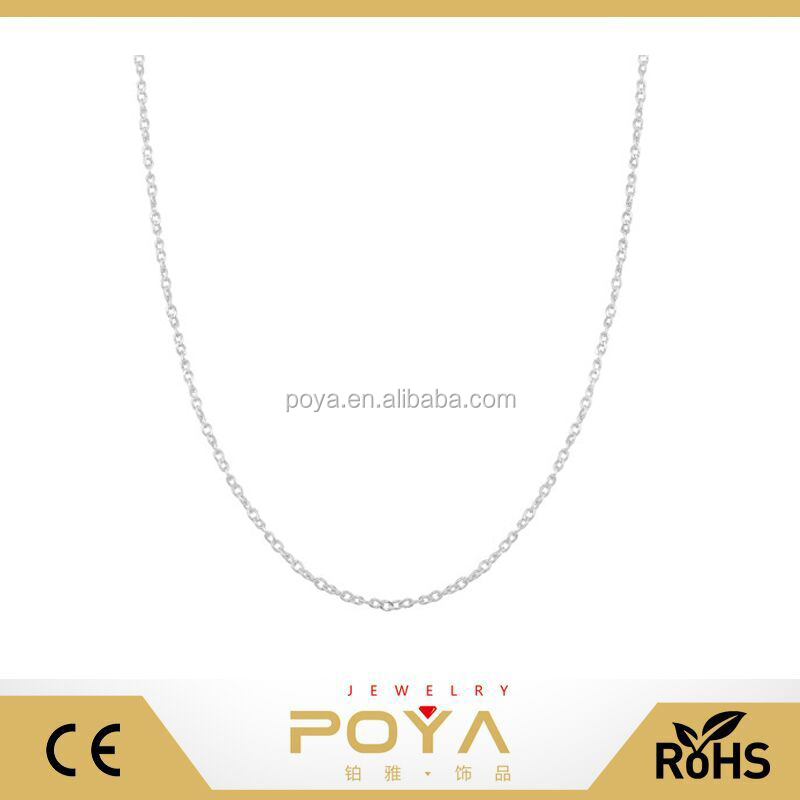 POYA Jewelry Sterling Silver 1mm Twisted Curb Chain ( white metallic color,gold color or rose gold)
