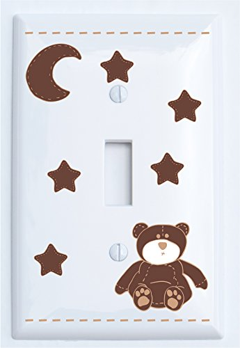 Brown Teddy Bear Light Switch Plate Single Toggle with Brown Moon and Stars / Teddy Bear Nursery Decor (Single Toggle)