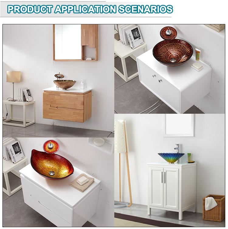 Leaf Shape Golden Colour Fiber Glass Sink Counter Tops Wash Basin Designs For Dining Room