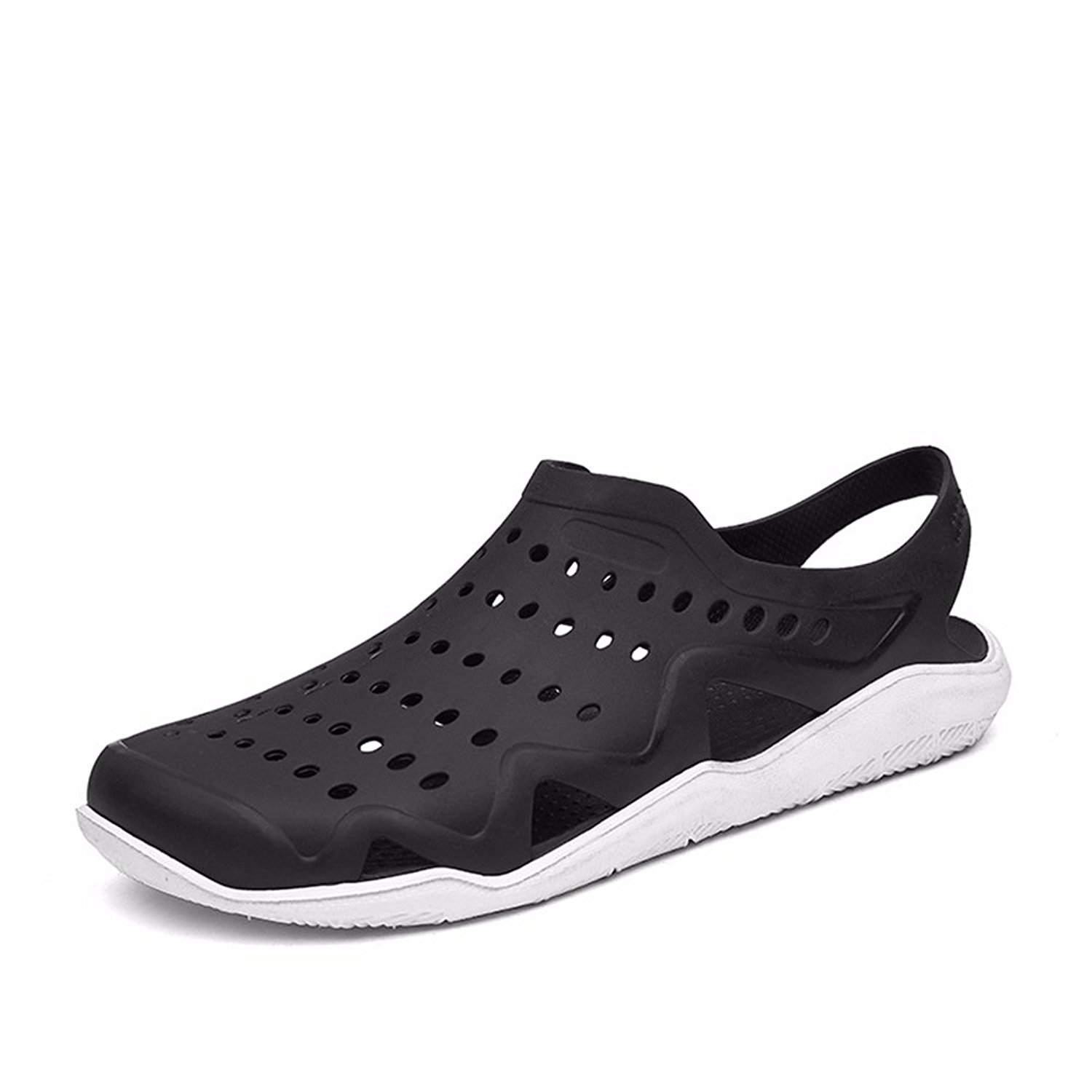 Sunny Holiday Mens Comfort Walking Water Shoes Pool Shower Saltwalter Sandals Outdoor Beach Aqua Walking Anti-Slip Clogs Shoes Black/White EU40