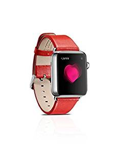 Apple Watch Band,Luxury Genuine Leather Series Watchband Replacement Strap Classic Apple iWatch Wrist with Stainless Steel Buckle for Apple Watch (42mm Red)