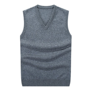 100% Merino wool v-neck slipover men sweater