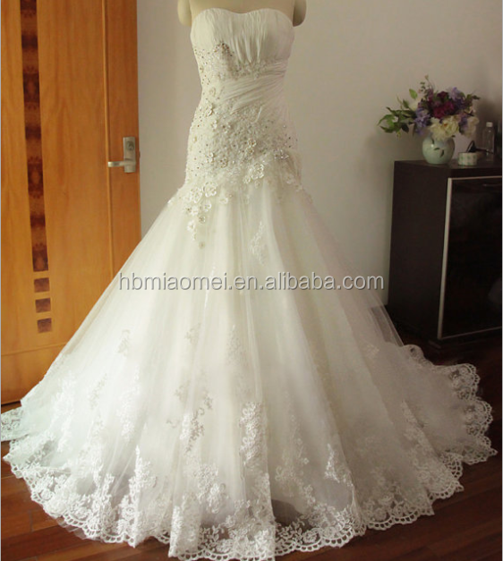 Lace Appliques Ball Gown Wedding Dress Lantai Panjang Lengan blush wedding dress