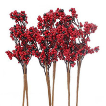 Artificial Red and Deep Burgundy Berry Cluster Embellishing Picks for Holiday and Home Decor