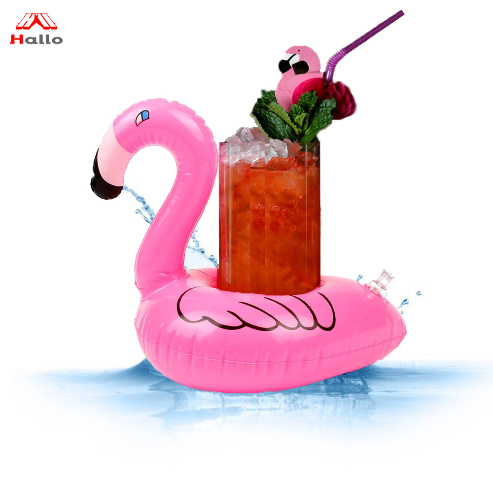 Pvc Beach Party Flamingo Gonfiabile Può Supporto di Tazza di Bevanda Galleggiante Galleggiante Birra Drink Cup Holder Flamingo Bevanda Floatie