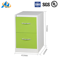 Hot selling knock down steel green 2 drawer file cabinet