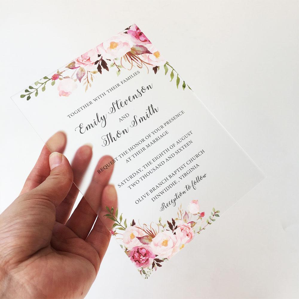Venta al por mayor, transparente, Rectangular, estampado Floral, acrílico transparente de plexiglás, invitaciones de boda