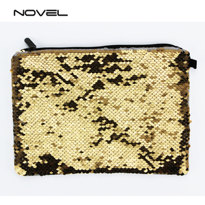 Reversible Two Color Changing Magic Sequin Cosmetic Bag Sublimation Blank Make-up Pouch