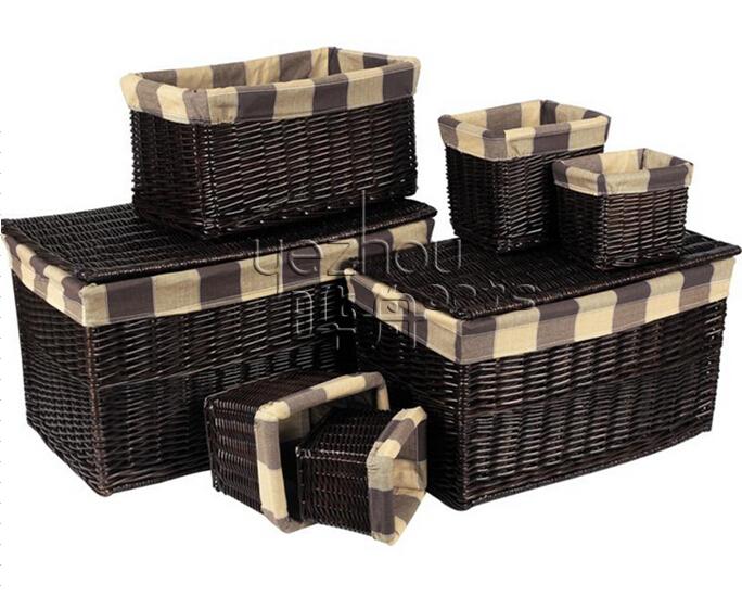 white wicker lined lidded baskets 2pk - Decorative Storage Baskets