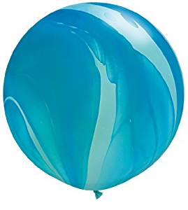 "Giant SuperAgate Blue Marbled 30"" Latex Qualatex Balloons x 2"