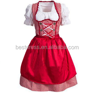 Oktoberfest Beer Festival October Dirndl Skirt Dress Apron Blouse Gown Red Lattice 2017 German Bavarian Costume Girl Women
