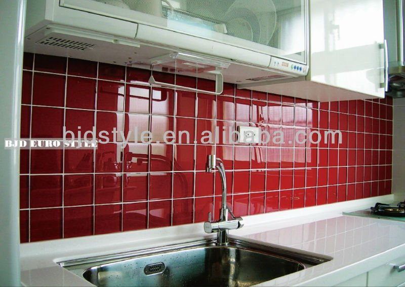 10x10 red glitter crystal clear vetro mosaico per cucina ...
