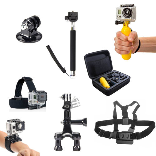 Go Pro 8 In1 Accessories Set Kit Monopod Head Chest Wrist Strap Mount Hand Bag