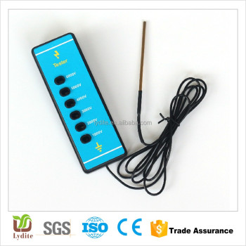 Electric fence tester with probe and wire 6 level voltage indication