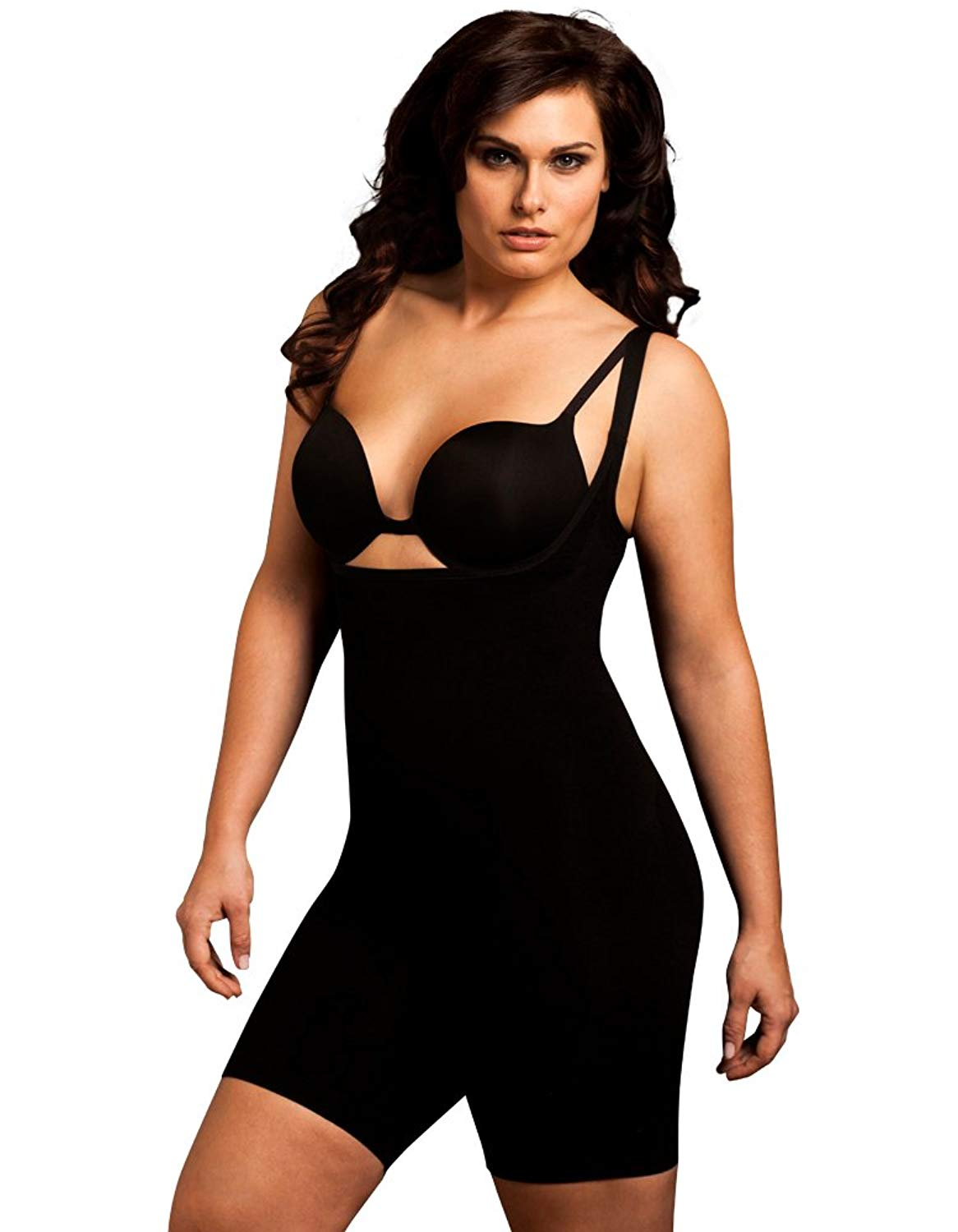4f60b4630 Get Quotations · Body Wrap Plus Size Seamless Long Thigh Under Bust Bodysuit  Shaper Black Nude