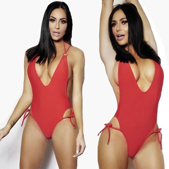 Wholesale swimwear with chest pad deep V neck sexy red one piece swimsuit for young girl bikini set