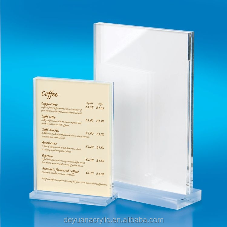 Acrylic poster/menu /sign/leaflet/lable holder acrylic a4 paper holder for restaurant