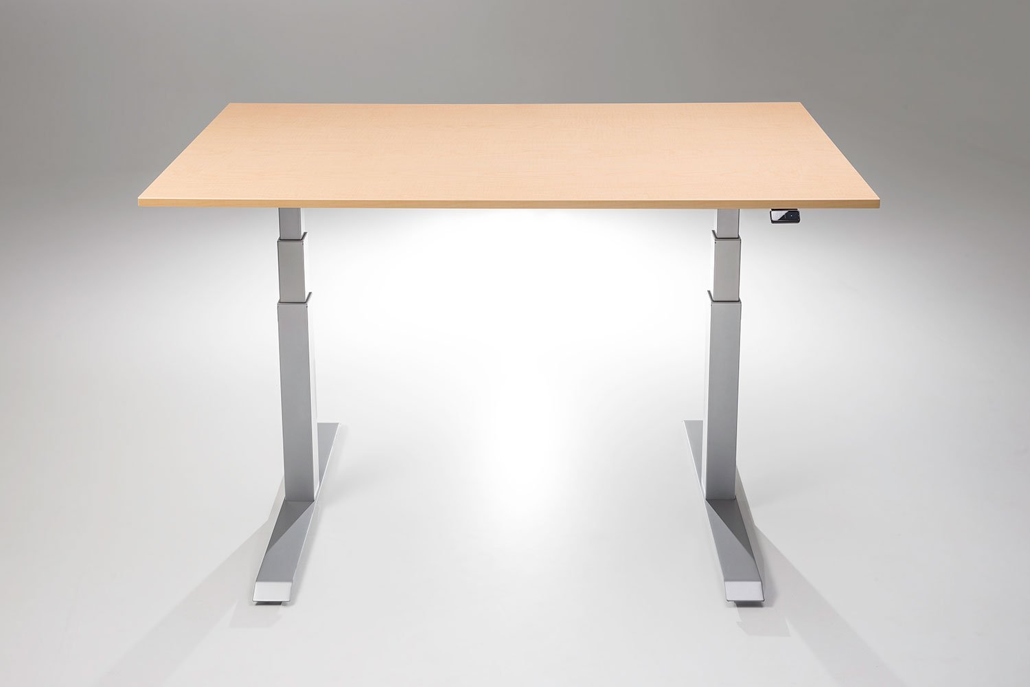 """ModDesk Pro Adjustable Height Standing Desk w/ Silver Frame (Small 24"""" x 40"""" x 3/4"""", Fusion Maple)"""