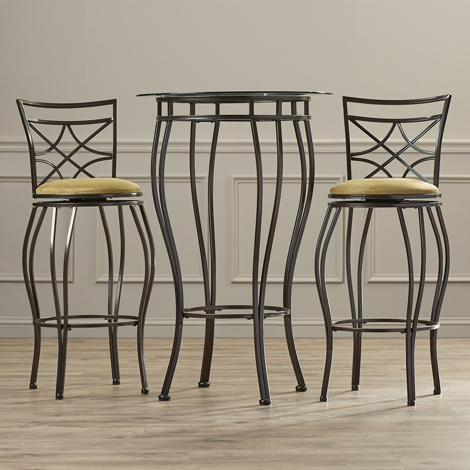 Contemporary Pub Table Set   3 Piece Counter Height Bistro   Home Bar Glass  Top Table