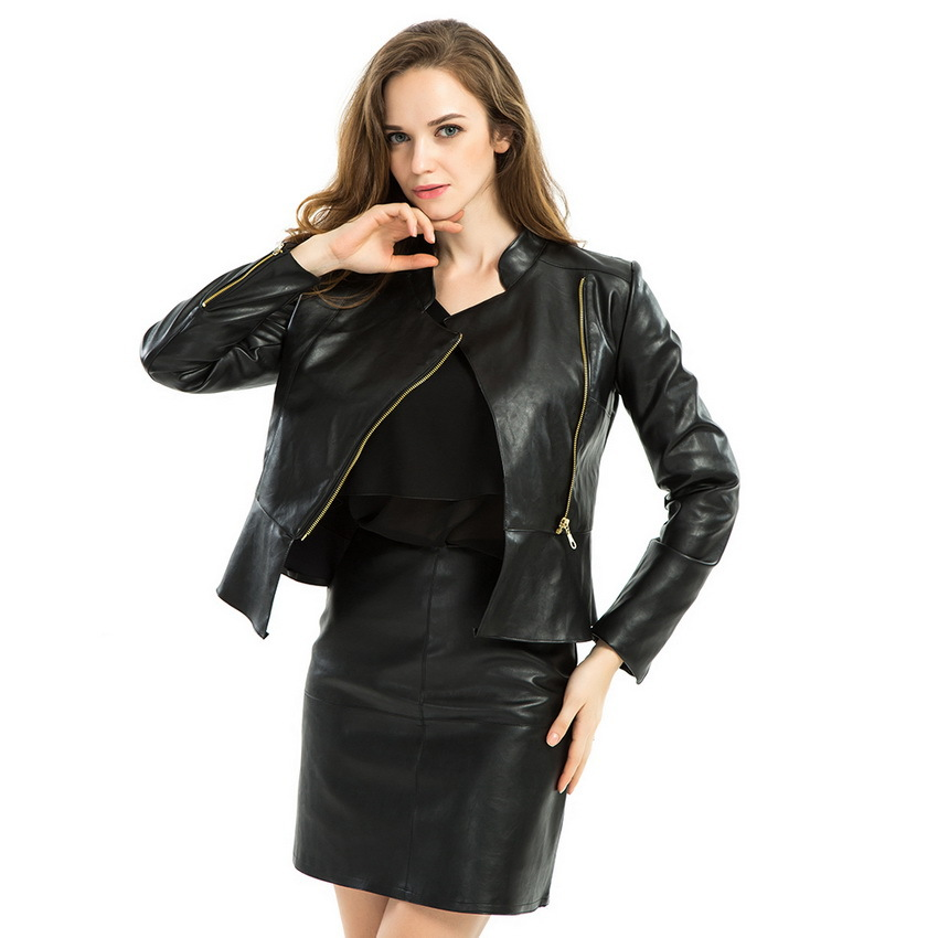 Elegant Faux Leather Jacket 2015 Autumn Women Work Slim Multi Zipper PU Ruffle Hem Motorcycle Jackets Casual jaqueta de couro