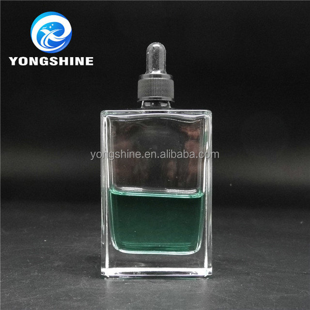 Free samples 100ml clear square glass perfume bottle with dropper