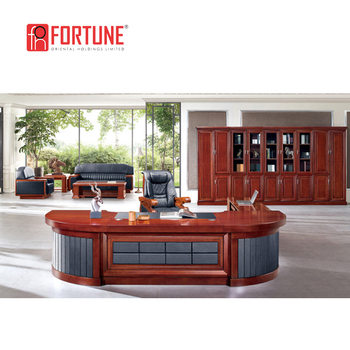 Mahogany Color Luxury Gold Trim Desk Big Boss Half Round Solid Wood Office Desk Buy Round Office Table Oval Office Desk Half Round Office Desk