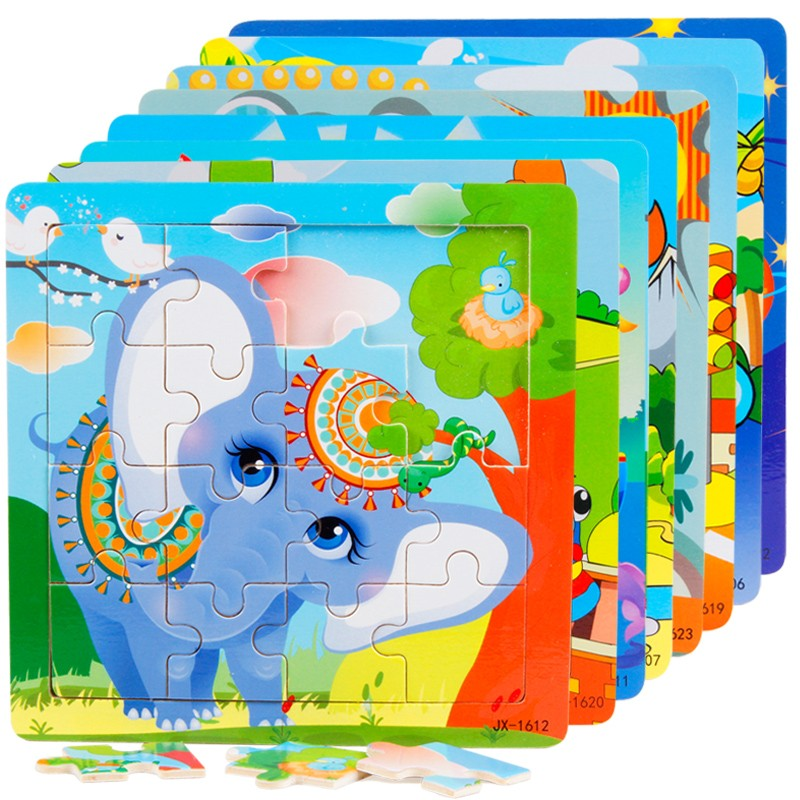 Hot selling educational toy 16pcs color wooden puzzle for kids
