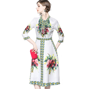 European and American Women Fashion Bow Knot Tie Neck Three Quarter Sleeve Digital Print On Jacquard Autumn Long Dress