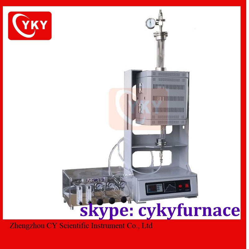 Compact Vertical Split Type' Quartz Tube Furnace with SS Vacuum Flanges