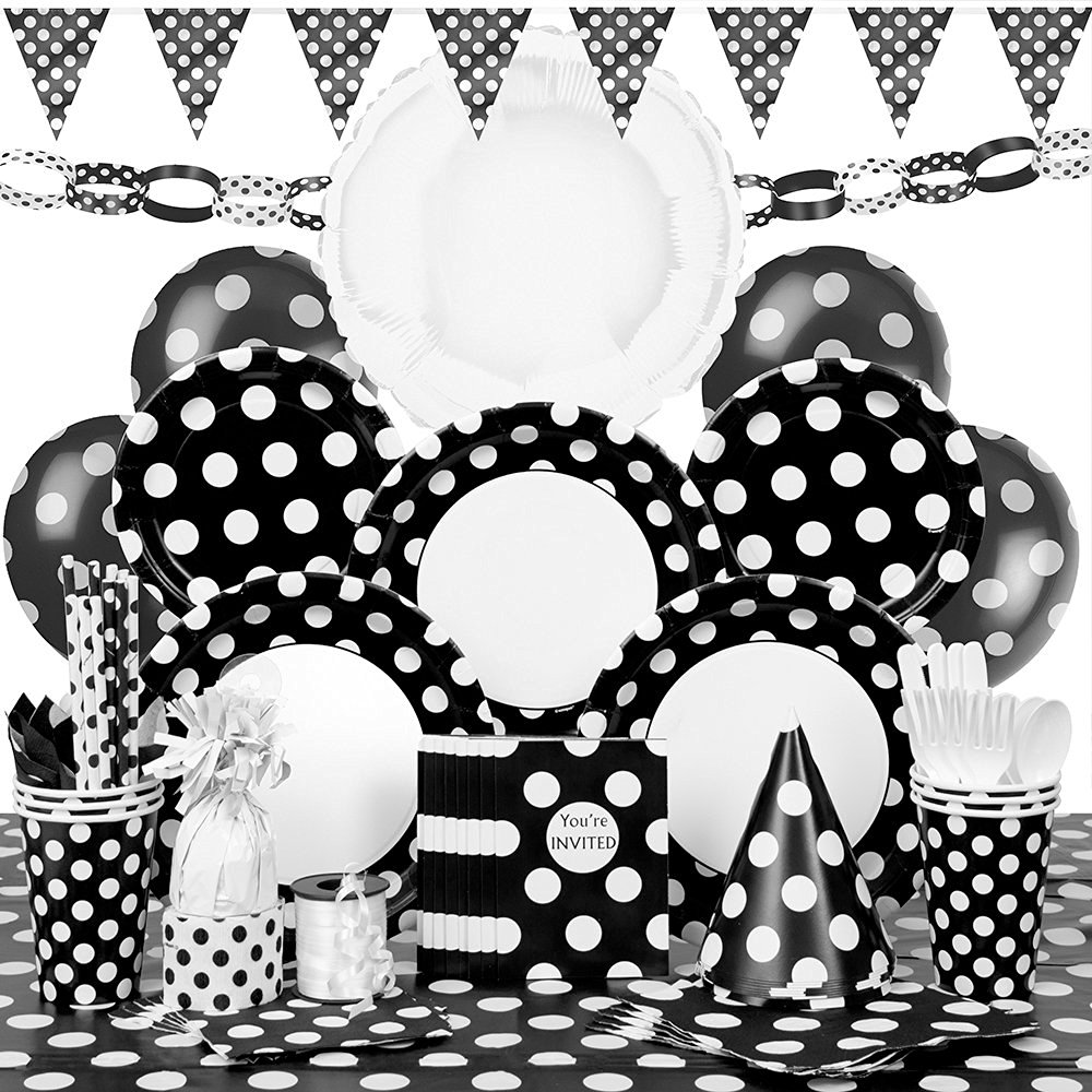Deluxe Black Polka Dot Party Supplies Kit for 8