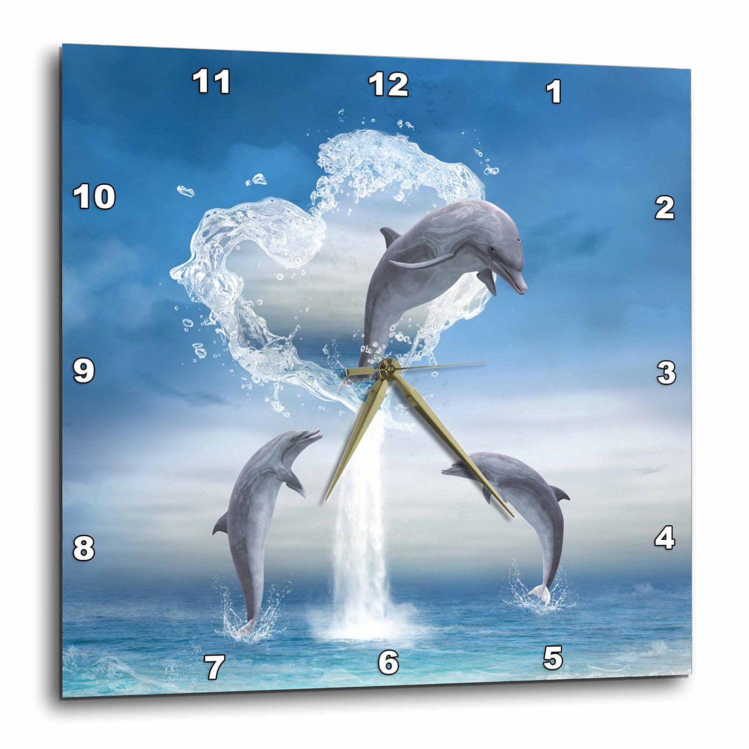 """3dRose A Dolphin Jumps Out of a Water Heart Into The Ocean Wall Clock, 15 by 15"""""""
