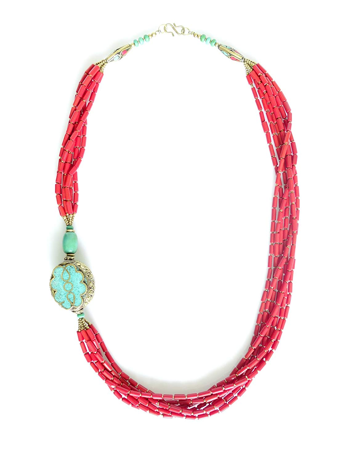 Tibetan Silver FABULOUS HAND KNOTTED FASHION REVERSIBLE NECKLACE LONG MULTI STRAND CORAL GEMSTONE BEADED NECKLACE UNIQUE DESIGNER TRIBAL GYPSY HANDMADE FASHION JEWELRY WOMEN YOUNG GIRLS