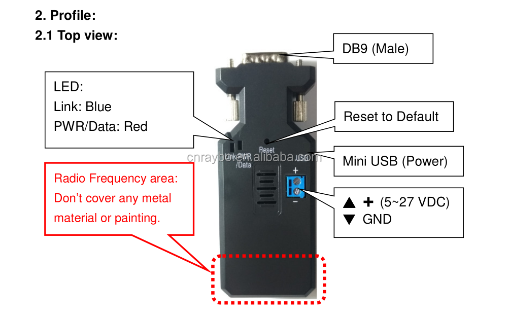 Bluetooth V4.2 BLE RS-232 adapter voor PLC Sensor