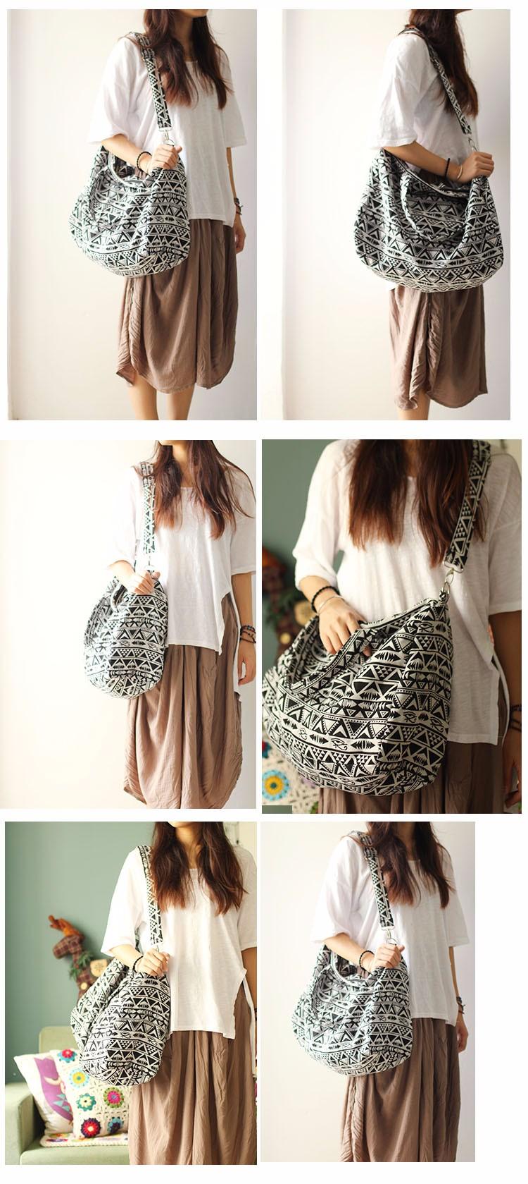 Canvas Leather Trim Travel Tote Duffel shoulder handbag Weekend Bag (5)