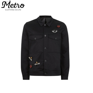 China Garment Factory Men's Western Custom Black Embroidered Badge Worker Jacket