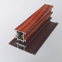 high quality aluminium window frame section T profile thermal break wooden grain