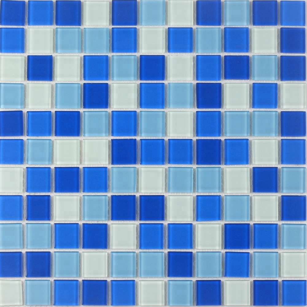2018 Hot Sell For Swimming Pool White Mixed Ocean Blue Glass Mosaic ...