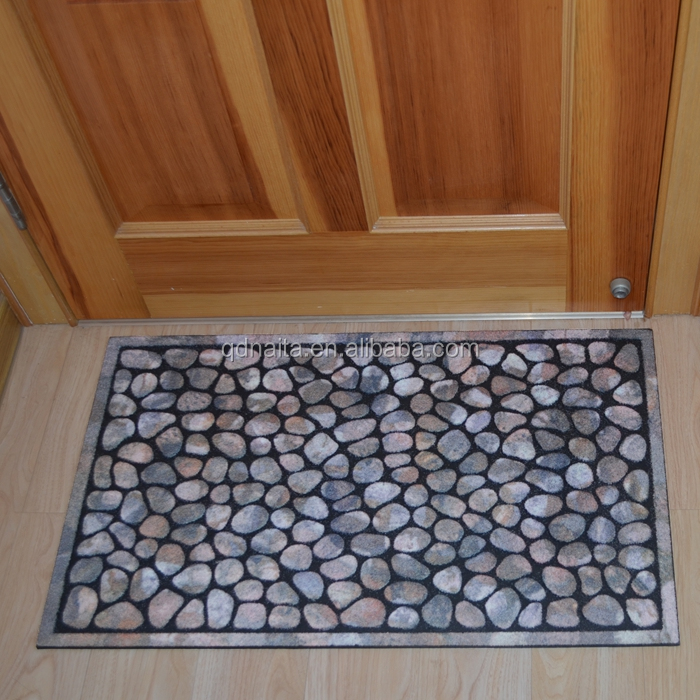 stone shaped Recycled tyre flocking rubber door mat
